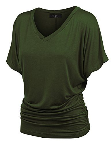 (Made By Johnny MBJ WT1037 V Neck Short Sleeve Dolman Top with Side Shirring L Olive)