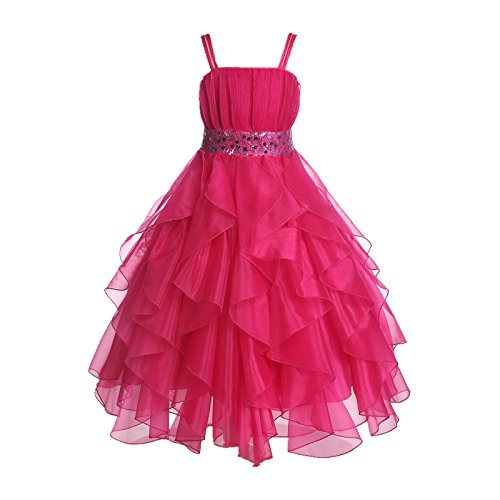 Wedding Stunning Organza Spaghetti-Straps Pleated Ruffled Flower Girl Dress Easter Toddler Bridal Pageant 009