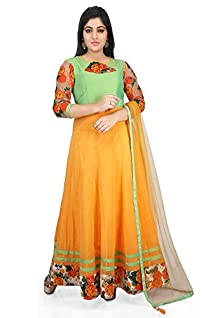 1ca18a8070 Utsav Fashion Plain Georgette Abaya Style Suit in Yellow and Pastel Green