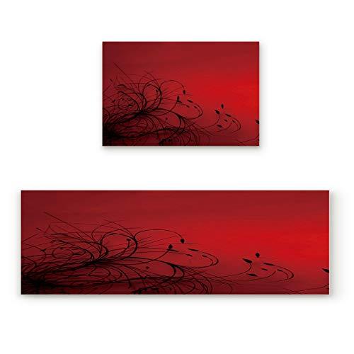 Prime Leader 2 Piece Non-Slip Kitchen Mat Runner Rug Set Doormat Red and Black Abstract Flower Door Mats Rubber Backing Carpet Indoor Floor Mat (23.6