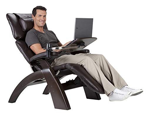 Perfect Chair Human Touch PC-610 Omni-Motion Power Dark Walnut Zero-Gravity Recliner + LapTop Personal Computer Desk Table - Red Top Grain Leather