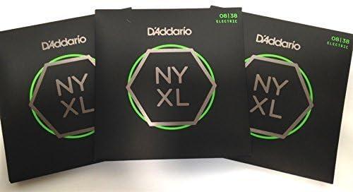 3 Sets of DAddario NYXL 0838 Super Light Gauge 08-38 Electric Guitar Strings