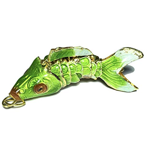 [ABCgems] Rare Antique Cloisonne Articulated Fish (Exquisite Color- Moves Like a Real Fish) 45mm Apple Green Pendant for Beading & Jewelry Making