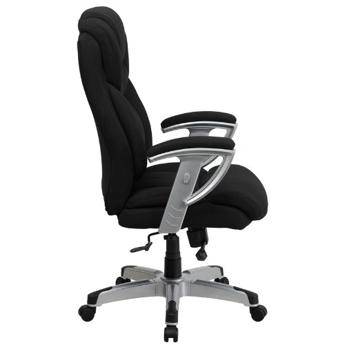 Amazon.com: Flash Furniture HERCULES Series Big U0026 Tall 400 Lb. Rated Black  Fabric Executive Swivel Chair With Adjustable Arms: Kitchen U0026 Dining
