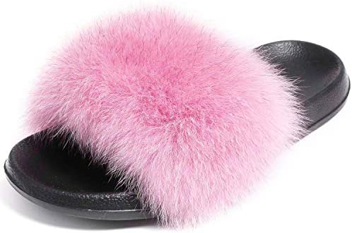 Valpeak Real Fur Slides Slippers for Women Open Toe Flussy Slippers Girls Fox Fur Sandals Furry Outdoor House