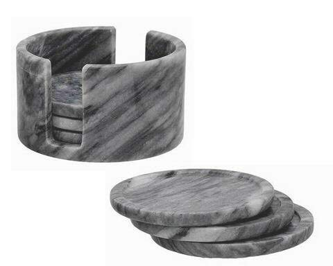 - Extra Large Grey Marble Coasters, Gray Stone Drink Coasters with Holder Set of 6