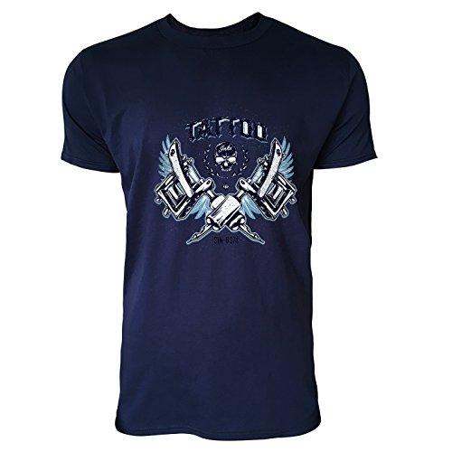 SINUS ART® Totenkopf und Tätowiermaschinen Herren T-Shirts in Navy Blau Fun Shirt mit tollen Aufdruck