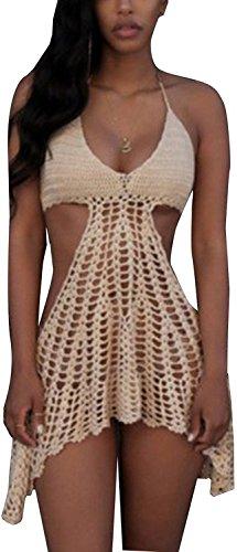 Women's Sexy Bikini Covers Knitted Crochet Tunic Cover up Beach Dress Swimwear (White)