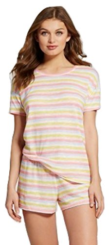 Rainbow Shorts T-shirt (Beaute Fashion Women's Junior Fit Sleepwear T-Shirt Short Set Lounge Set Pajama PJ (Medium, Rainbow Stripe))
