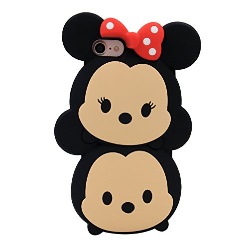 iPhone 7 Case, MC Fashion Cute 3D American Cartoon Characters Minnie and Mickey Mouse Silicone Phone Case Skin for Apple iPhone 7 (2016) and iPhone 8 (2017) (Minnie and Mickey)