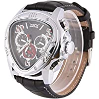 Baynne Men Automatic Mechanical Wrist Watch Leather Wristwatches Triangular Black Dial Business Watches Skeleton Watches