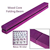 PreGymnastic Wood Core Folding Floor Balance Beam 8 Ft with Handles & Carry Bag, Shining Sticker Inside