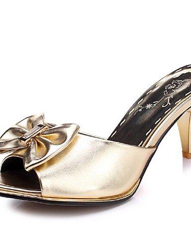 LFNLYX Zapatos de mujer-Tacón Stiletto-Tacones / Punta Abierta-Sandalias-Casual / Fiesta y Noche / Vestido-Semicuero-Negro / Rosa / Plata / Oro Pink
