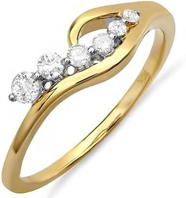 DazzlingRock Anillo de compromiso de oro amarillo de 14 quilates con diamante redondo para mujer (0,25 quilates, color H-I, claridad I1)