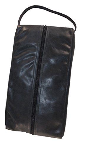 TPK Full Grain Leather Premium Shoe Bag (Ebony Black) by TPK