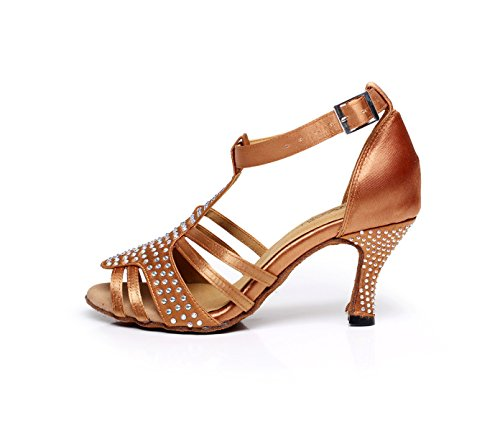 Sparking JSHOE Sandalias Latin Tango Our34 Altos Salsa De Shoes EU33 UK3 Modern Satin Jazz De Chacha Samba Baile Tacones Mujer heeled6cm Cristales Brown Zapatos xttvnr