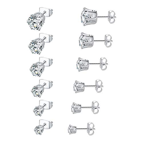 DwearBeauty 18K White Gold Plated Cubic Zirconia Stud Earrings 3-8mm Pack of 6