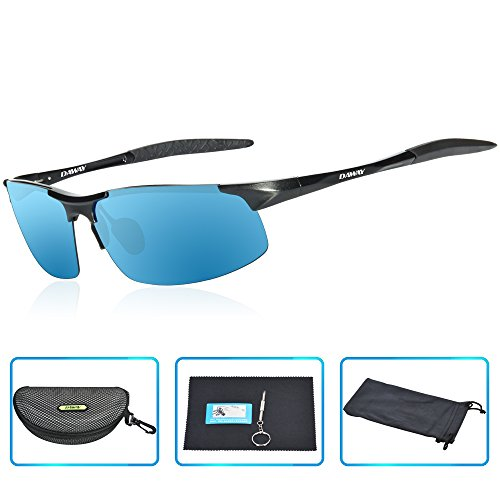 DAWAY SG06BB Mens Polarized Sports Sunglasses for Golf Fishing Cycling Driving - UV 400 TAC Lens with Al-Mg Unbreakable Metal Frames