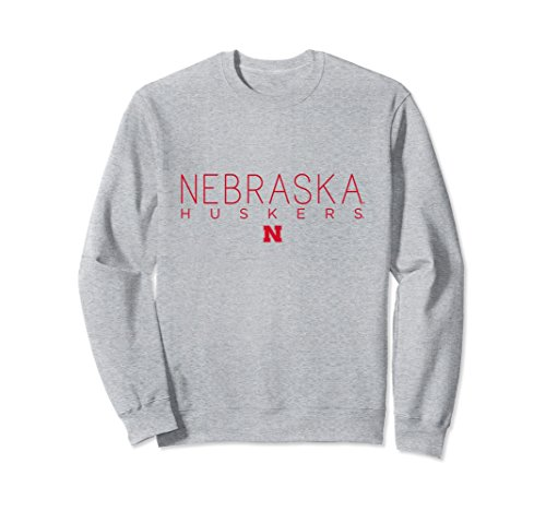 - Unisex Nebraska Huskers Women's NCAA Crew Neck Sweatshirt 65A-NB Large Heather Grey