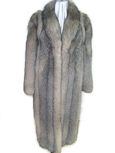 Classic Full Length White Fox Coat w/Shawl Collar Made in...