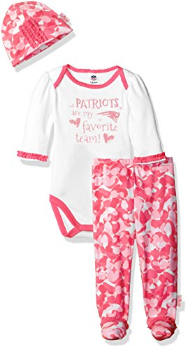 "Gerber Childrenswear ""Favorite Team"" Bodysuit, Pant & Cap Set,New England Patriots, 6-9 Months, Pink"