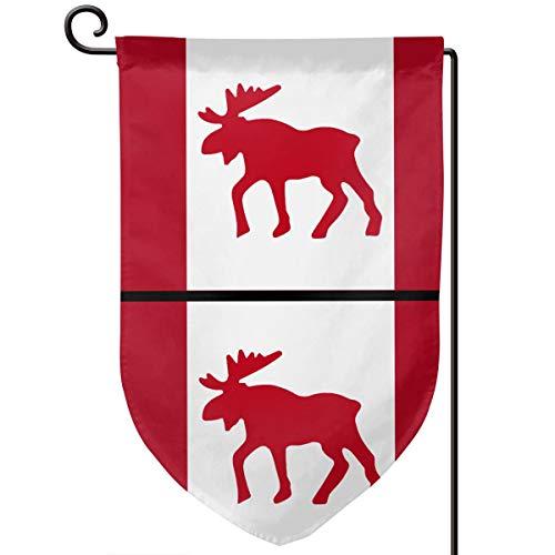 Garden Flag 12.5-18in Size Banner for House Decoration- Moose Emblem On Canadian Flag