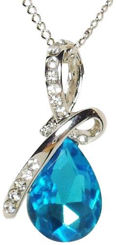 Necklace - Aqua Blue Eternal Love Teardrop Crystal Pendant Necklace - Kiki's Aqua - & Co Ribbon Tiffany