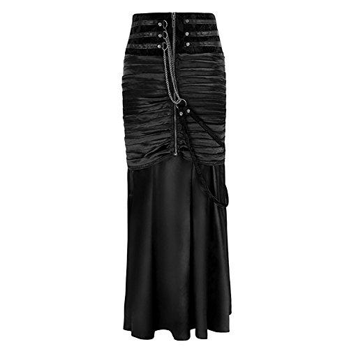 WECHERY Women's Steampunk Gothic Victorian Ruffled Satin High Waisted Skirts (Black, XXL) -