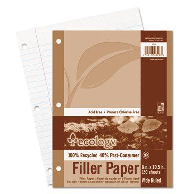 Ecology Filler Paper - Pacon 3203 Ecology Filler Paper, 8 x 10-1/2, Wide Ruled, 3-Hole Punch, White, 150 Sheets/PK