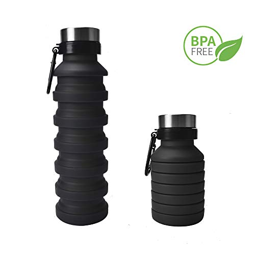 ZOORON Collapsible Water Bottle, BPA Free Silicone Foldable Travel Water Bottle Set Lightweight/Eco-Friendly Water Bottles with Carabiner Designed for Travel and Outdoor (B-Black)