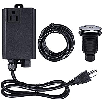 Garbage Disposal Air Switch Kit Sink Top Waste Disposal Stainless Steel On/Off Air Button Food and Waste Disposals Part by Etoolcity