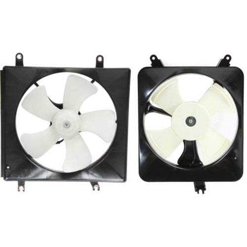 Cooling Fan Assembly Compatible with HONDA Accord 1994-1997 Set of 2 A/C Fan Shroud and Radiator Fan Shroud Assembly 4 Cyl (Cyl Fan A/c 4)