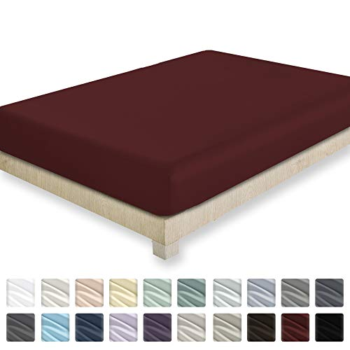 California Design Den 400 Thread Count 100% Cotton 1 Fitted Sheet Only, Long - Staple Combed Pure Natural Cotton Sheet, Soft & Silky Sateen Weave (Full, Red Wine)