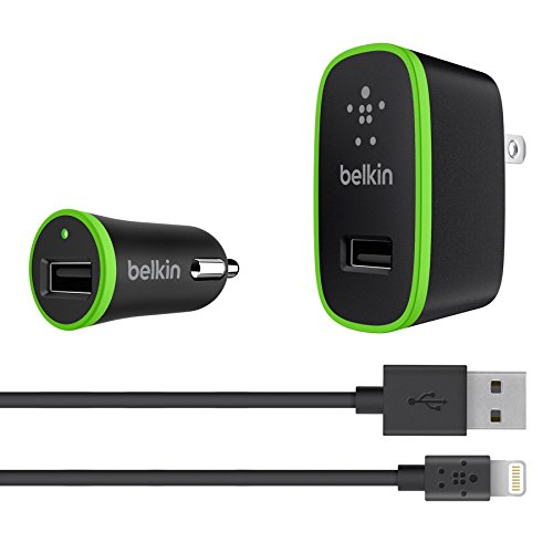 Belkin Apple Certified Charging Kit with Lightning to USB ChargeSync Cable (2.1 Amp / 10 Watt per Port) (And Charger Kit Home Car Belkin)