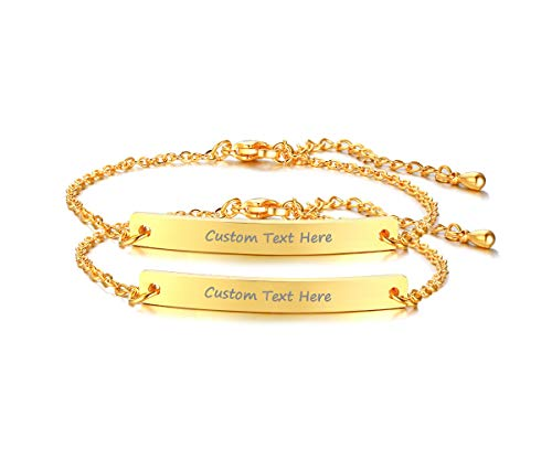 VNOX Set for 2 Customize Skinny Thin Bar Nameplate Monogram Friendship Bracelet,18K Gold Plated,Bridesmaid Gift