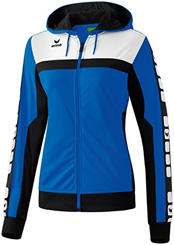 Mujeres Erima chaqueta de entrenamiento de 5 CUBOS con capucha 5-CUBOS Serie nuevo real / negro / blanco, Opciones Tamaño: 38 Mujeres