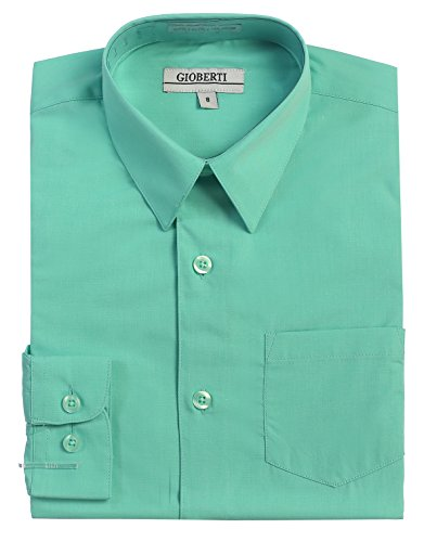 Gioberti Boys Long Sleeve Solid Dress Shirt, Mint B, 4T