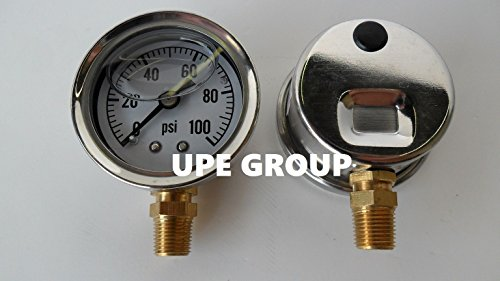 NEW STAINLESS STEEL LIQUID FILLED PRESSURE GAUGE WOG WATER OIL GAS 0 to 100 PSI LOWER MOUNT 0-100 1/8