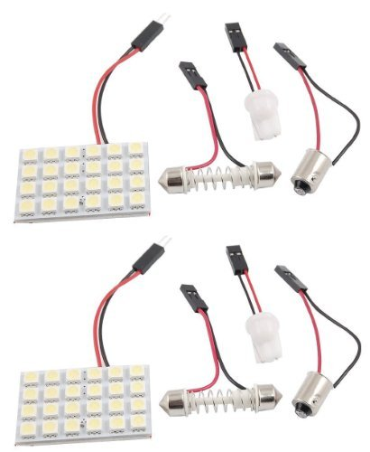 Cutequeen Trading 2PCS White 5050 24SMD 24-SMD LED Panel Dome Light Lamp + T10 BA9S Festoon Adapter (pack of 2)
