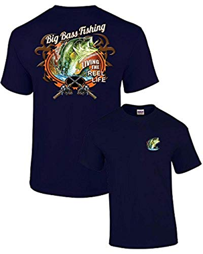 (Fishing T-Shirt Big Bass Fishing-Navy-Medium )