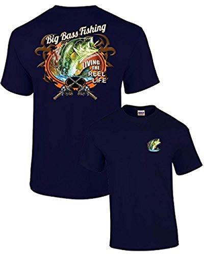 Bass Fishing Fish T-shirt - Fishing T-Shirt Big Bass Fishing-Navy-XL