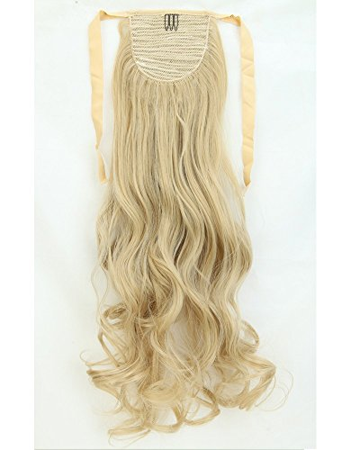 "S-noilite New 27""(68cm) Straight Binding Tie up Ponytail Clip in Hair Extensions One Piece Wrap Around Pony Tail (Ash Blonde Mix Bleach Blonde)"
