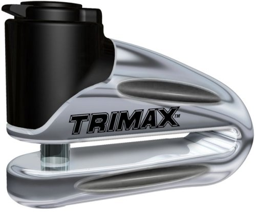 Chrome Disc - Trimax T665LC Hardened Metal Disc Lock - Chrome 10mm Pin (Long Throat) with Pouch & Reminder Cable