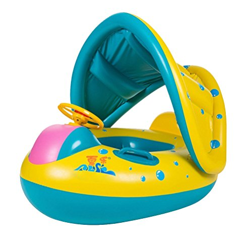 StillCool Baby Pool Float Swimming Ring Inflatable with Adjustable Sunshade...