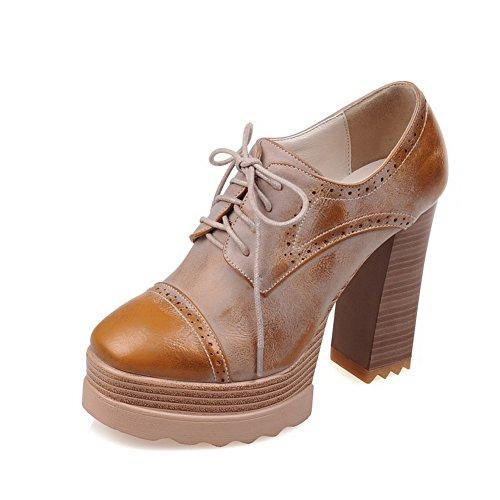 Balamasa Femmes Évider Le Motif Léopard Bout Carré Talons Chunky Matériau Souple Pompes-chaussures Marron