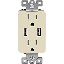 Topgreener Tu2152a-la Power Outlet Usb, 2.1a Dual Usb Charger Outlet 15a Duplex Tamper Resistant Receptacle, Light Almond