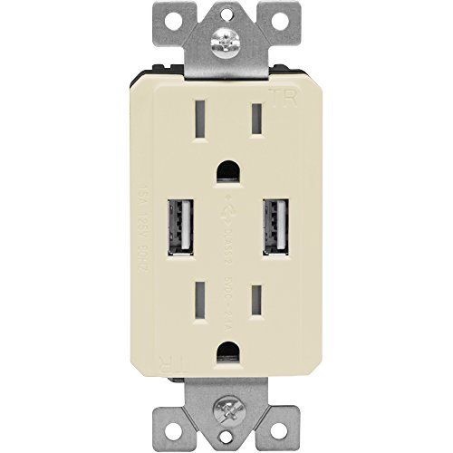 TOPGREENER TU2152A-LA Power Outlet USB, 2.1A Dual USB Charger Outlet 15A Duplex Tamper Resistant Receptacle, Light ()