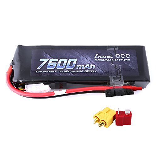 Gens ace 7600mAh 7.4V 2-Cell 50C LiPo Battery Pack with XT60 and Deans Plug for Traxxas Cars RC Cars Boat Airplane-Connector Updated