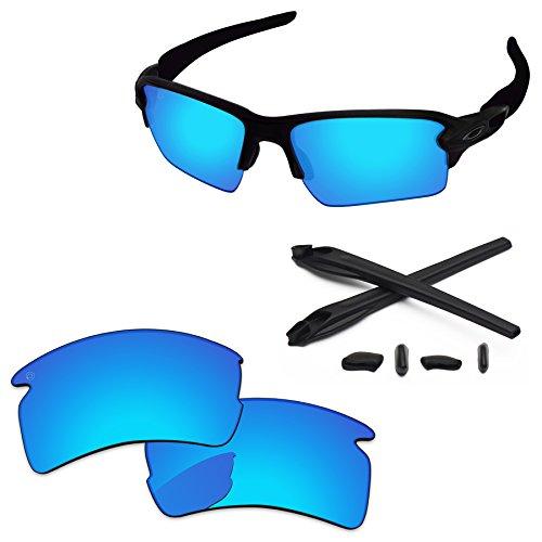 PapaViva Replacement Lenses & Rubber Kits for Oakley Flak 2.0 XL Pro+ Ice Blue (Pro Replacement Lenses)