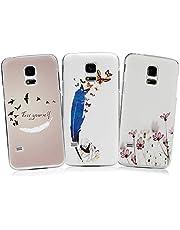 S5 Mini Case YOKIRIN 3x Hülle für Samsung Galaxy S5 Mini Hardcase Handyhülle Skin Painted Gemalt PC Durchsichtig Transparent Rahmen Telefon Kasten Schutzhülle Case Cover Muster: Feather Bird